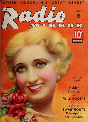 Ruth Etting - Etting on the cover of the June 1935 edition of Radio Mirror.