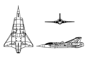 Orthographically projected diagram of the Saab J 35 Draken.