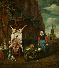 Slaughtered Pig with View of the Haarlemmerpoort