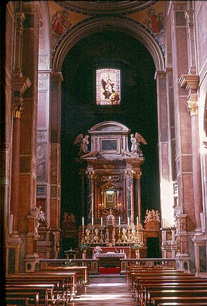 Basilica of Sant'Agostino, Rome - Interior of S. Agostino, Rome, with nave and High Altar