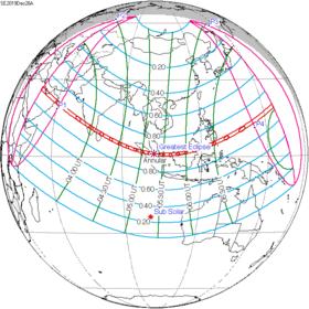 Carte de l'éclipse générale.