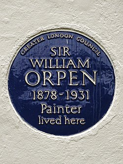 Sir william orpen 1878 1931 painter lived here