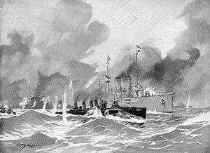 SMS Zenta - Painting showing SMS Zenta and SMS Ulan in action on 16 August 1914