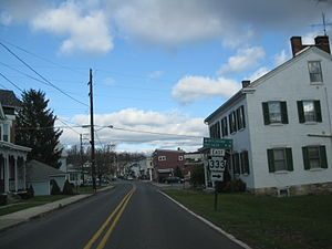 Thompsontown, Pennsylvania - Route 333 eastbound through Thompsontown, just south of downtown.