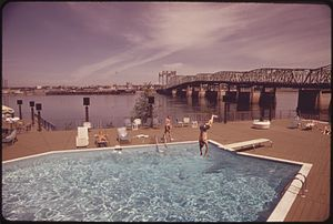 Interstate Bridge - Interstate Bridge in 1973 as seen from the Thunderbird Hotel on the Portland side