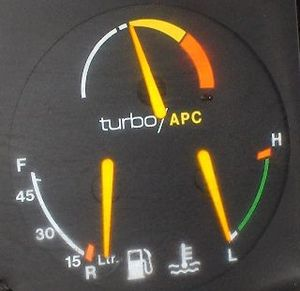 Boost gauge - Top: Turbo/APC boost gauge in a Saab 900