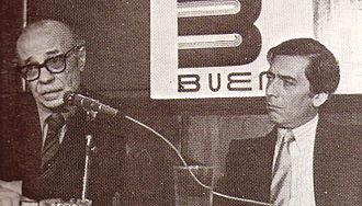 Ernesto Sabato -  Ernesto Sabato  with Peruvian writer Mario Vargas Llosa in 1981
