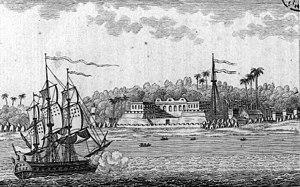"""Saint-Louis, Senegal - French view of the fort at Saint-Louis island, from """"L'Afrique ou histoire, moeurs, usages et coutumes des Africains"""", by René Claude Geoffroy de Villeneuve, 1814."""