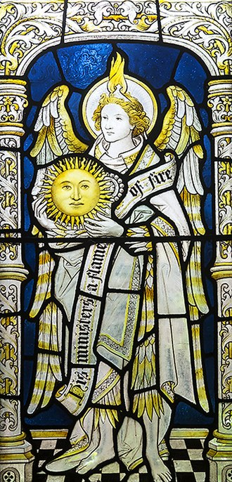 Uriel - Stained glass of archangel Uriel as regent of the sun in the cloisters of Chester Cathedral.