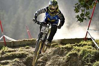 Sam Hill (cyclist) - Sam Hill winning the last round of the MTB UCI World Cup in Méribel (2014)