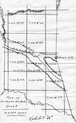 United States Court of Private Land Claims - Map of the San Miguel del Bado Grant in central New Mexico, from the United States Court of Private Land Claims, Julian Sandoval Case 25 (1894-1902).
