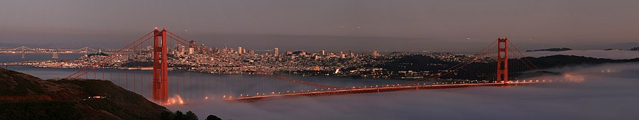 San Francisco with two bridges, Coit Tower and Fort Mason from the Marin Headlands