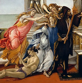 Calumny of Apelles (Botticelli) - Perfidy, the victim, Calumny, Fraud and Rancour