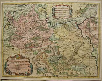 County of Sponheim - Historic map of the left bank of the Rhine in 1692 - including the County of Sponheim