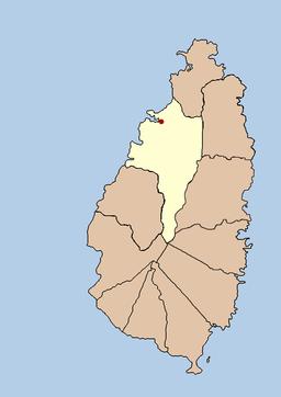 Castries' beliggenhed på Saint Lucia med distriktet (quarter) i lysere farve