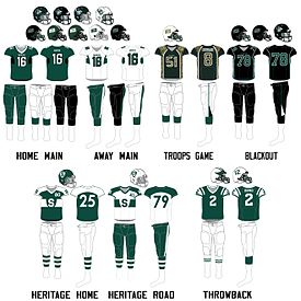 Saskatchewan Huskies football uniforms since 2012.jpg