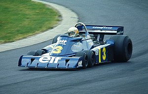 Jody Scheckter - Scheckter in the iconic six-wheel Tyrrell P34 at the Nürburgring in 1976.