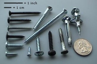 Fastener - Typical fasteners (US quarter shown for scale)