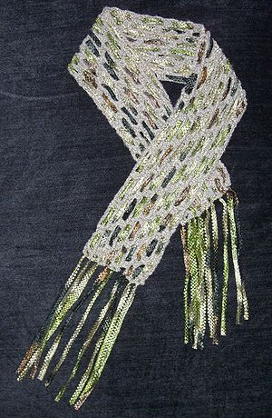 Scarf made from bamboo yarn and ribbons. Origi...