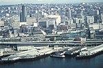 Seattle - Aerial of Alaskan Way Viaduct and waterfront, 1973 (39725739823).jpg