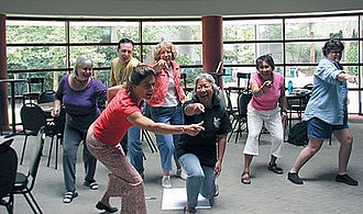 """Seattle Repertory Theatre - """"Bringing Theatre into the Classroom"""" participants work on integrating tableaux into their lesson plans."""