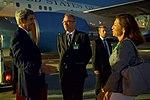 Secretary Kerry Speaks With U.S. Ambassador Pamela Hamamoto and Canton of Geneva Head of Protocol Jean-Luc Chopard Upon Arrival in Geneva, Switzerland (29268558190).jpg