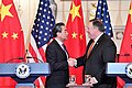 Secretary Pompeo Shakes Hands With Chinese State Councilor and Foreign Minister Wang After Their Joint Press Conference in Washington (28434586678).jpg