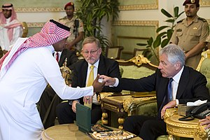 Saudis - Image: Secretary of Defense Chuck Hagel takes a cup of tea during a farewell tea ceremony with Prince Fahd bin Abdullah, Deputy Minister of Defense, and U.S. Ambassador to the Kingdom of Saudi Arabia Jim Smith