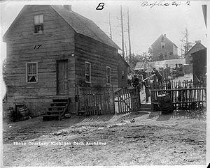 Seeberville Murders - The Putrich boardinghouse, where the Seeberville Murders occurred, photographed in Seeberville, Michigan, on in August 1913.