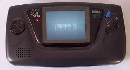Game Gear displaying the Sega trademark in color Sega GameGear 003.jpg