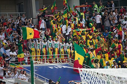 Senegalese football fans at the 2018 FIFA World Cup in Russia Senegal fans Russia 2018.jpg