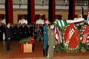 Sergei Bagapsh - Russian President Dmitry Medvedev pays his respects to Bagapsh at a service in Moscow on 30 May 2011.