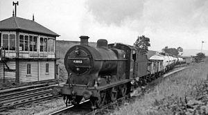 Settle Junction railway station - Up ammonia tank empties in 1962