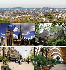 Top: Sheffield from Meersbrook Park, middle left: Sheffield Cathedral, middle right: Shepherd Wheel, bottom left: Fargate, bottom right: Sheffield Winter Garden.
