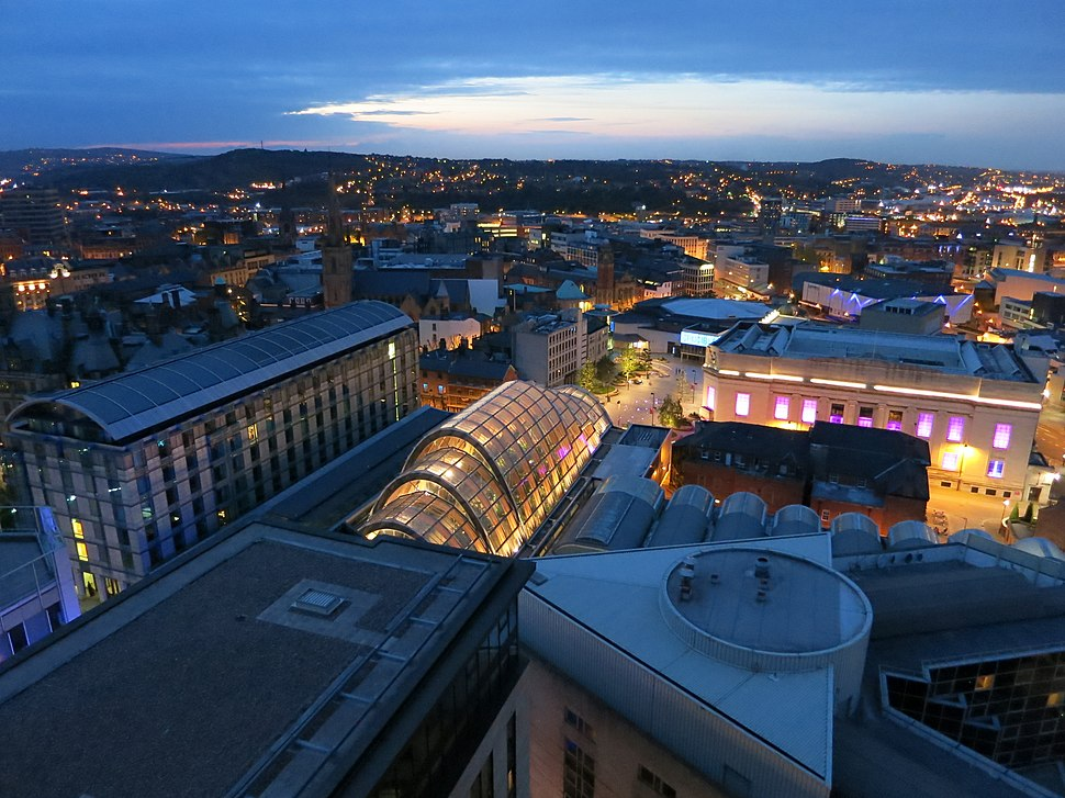 Sheffield skyline by night as viewed from St Paul's Tower. View includes Mercure St Pauls Hotel, Sheffield Winter Garden, The Lyceum Theatre, The Crucible Theatre. Photo taken: June 2013.