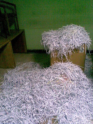 State Security Investigations Service - Shredded documents found inside State Security Investigations Service