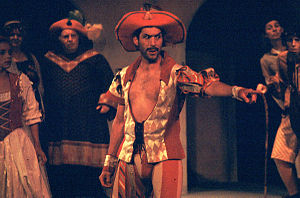 Petruchio - Petruchio (Kevin Black) in his wedding outfit, in a Carmel Shakespeare Festival production at the outdoor Forest Theater in Carmel, CA, Oct. 2003