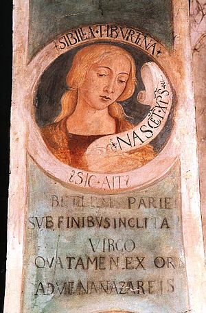 Tiburtine Sibyl - The Tiburtine Sibyl, fresco in the Church of St. John the Evangelist at Tivoli, 1483.