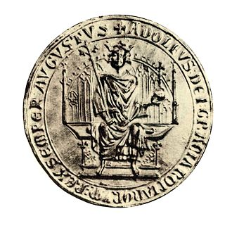 Adolf of Germany - Small throne seal of Adolf of Nassau (1298)