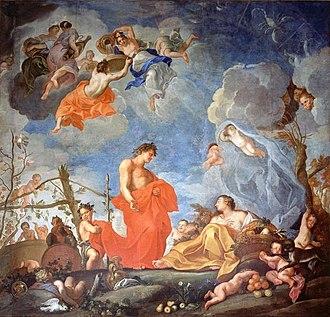 Wilanów Palace - Plafond with Allegory of Autumn by Jerzy Siemiginowski-Eleuter.