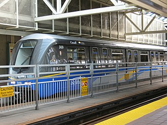 Automated guideway transit - A Mark II train in Vancouver, BC, Canada. The SkyTrain is the second longest driverless transit system in the world.