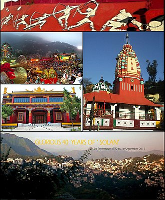 Solan - From top, left to right: Thodo dance of Solan; Shoolini Utsav; Shoolini Devi Temple Solan; Yung Drung Monastery, Dholanji, Solan; panoramic view of Solan city