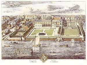 Somerset House - Old Somerset House, in a drawing by Jan Kip published in 1722, was a sprawling and irregular complex with wings from different periods in a mixture of styles. The buildings behind all four square gardens belong to Somerset House.