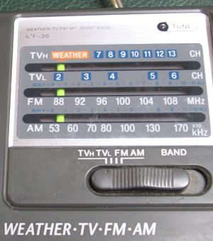 TV radio - Close-up view of the audio bands on a Sony ICF-36 portable radio, manufactured in 2001. The TV audio bands are obsolete and not usable with digital TV channels.