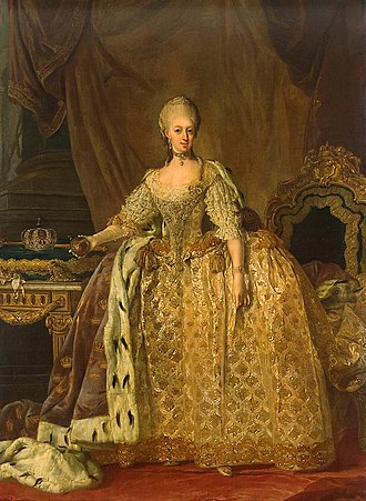 Sophia Magdalena of Denmark - Official portrait as Queen of Sweden by Lorens Pasch