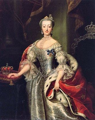 Ordre de l'Union Parfaite - Queen consort Sophie Magdalene  The medal with its dark blue ribbon can be clearly seen.