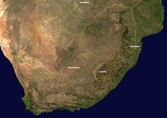 Outline of South Africa - An enlargeable satellite image of South Africa