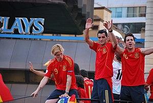 Dani Güiza - Fernando Torres, Güiza and Cesc Fàbregas celebrating after their success at Euro 2008.