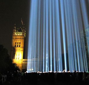 "First World War centenary - In the UK, lights were turned out to recall the start of the war when ""the lamps are going out"".  Afterwards, a tower of light shone across London for a week."