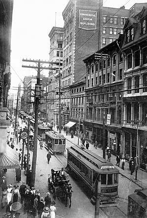 Montreal Metro - St. James/Saint-Jacques St. Streetcars in 1910.
